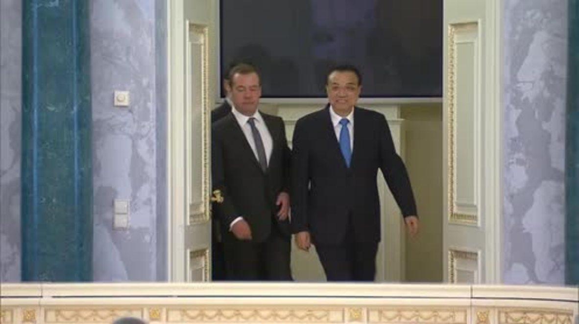 Russia: Medvedev and Chinese Premier Li Keqiang lead trade talks in St. Petersburg