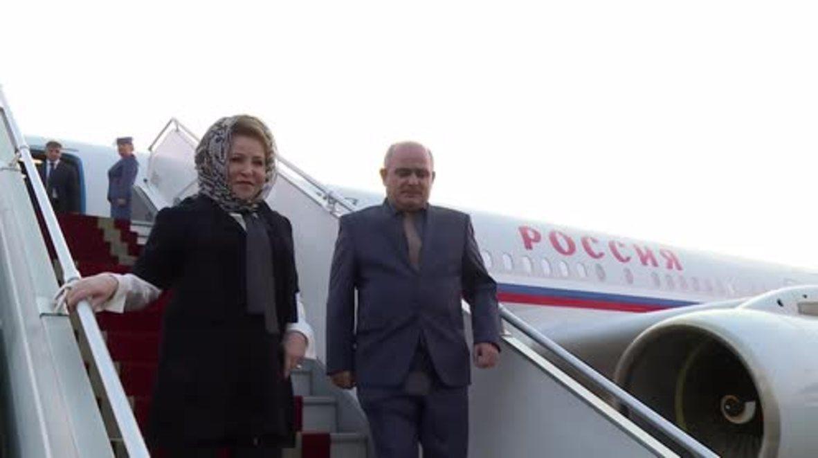 Iran: Matviyenko arrives in Tehran for bilateral talks