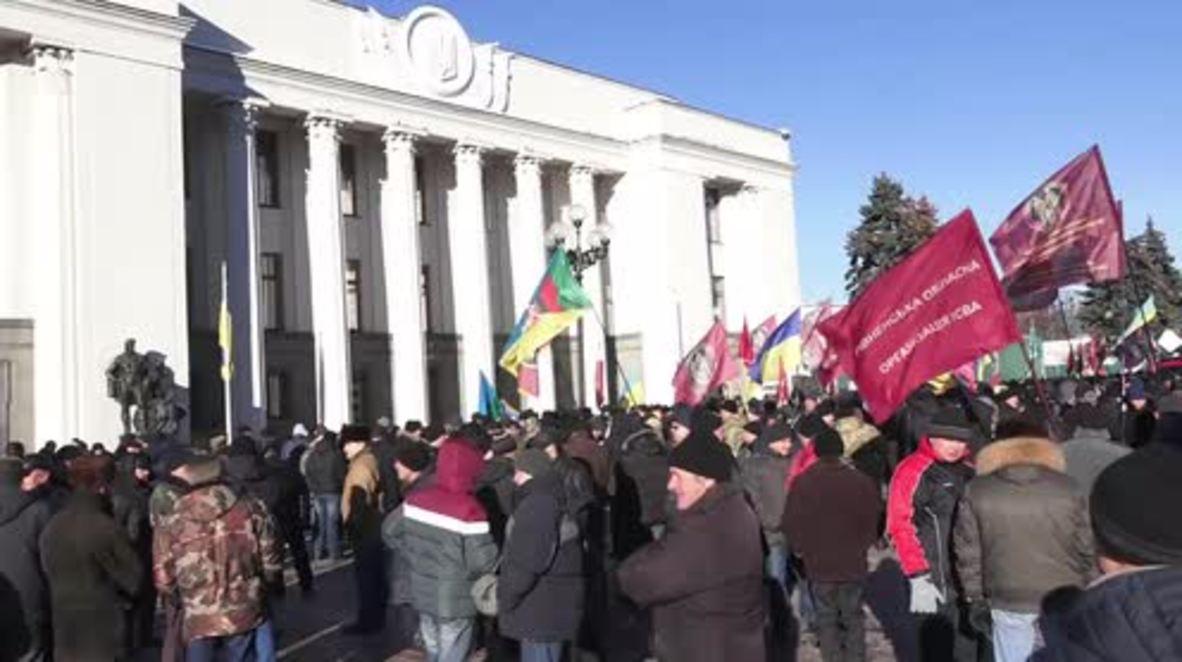 Ukraine: War veterans protest possible cutting of benefits in Kiev