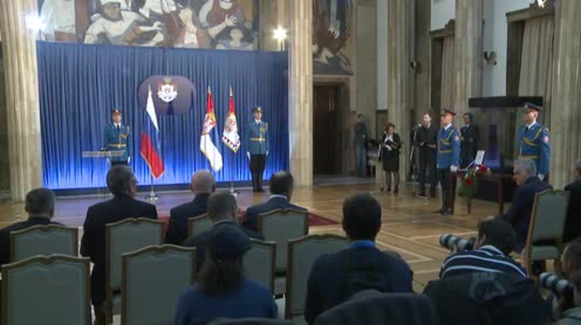 Serbia: Lavrov receives Order of the Serbian Flag in Belgrade