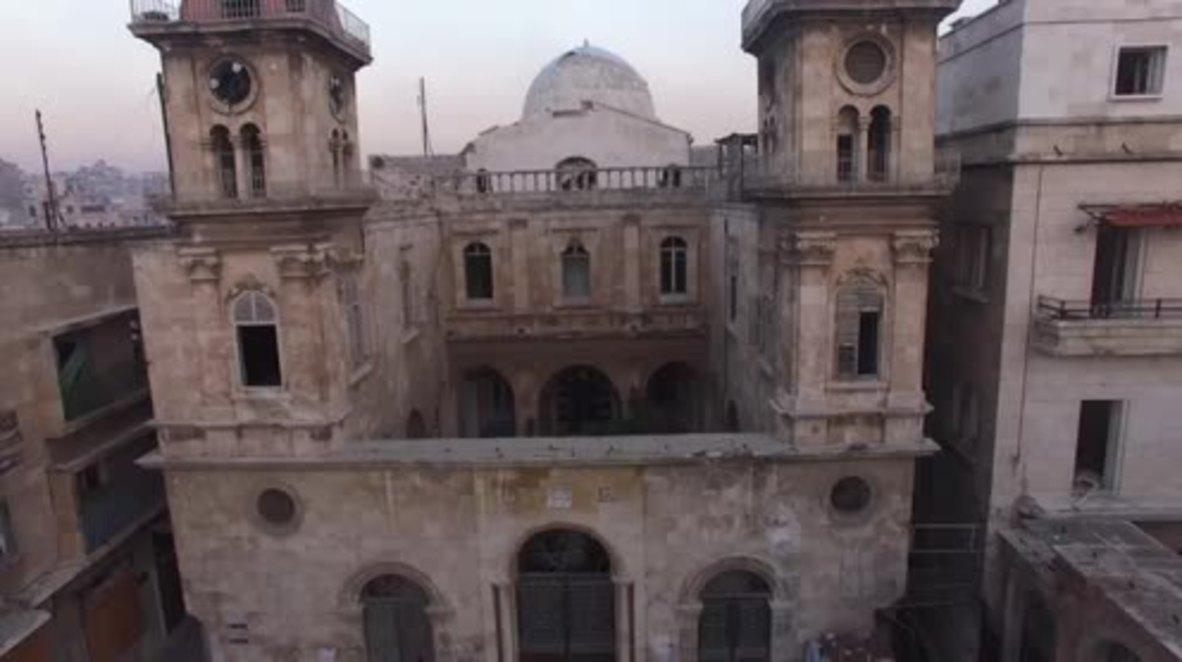 Syria: Drone footage captures damaged Saint Elias Cathedral in Aleppo