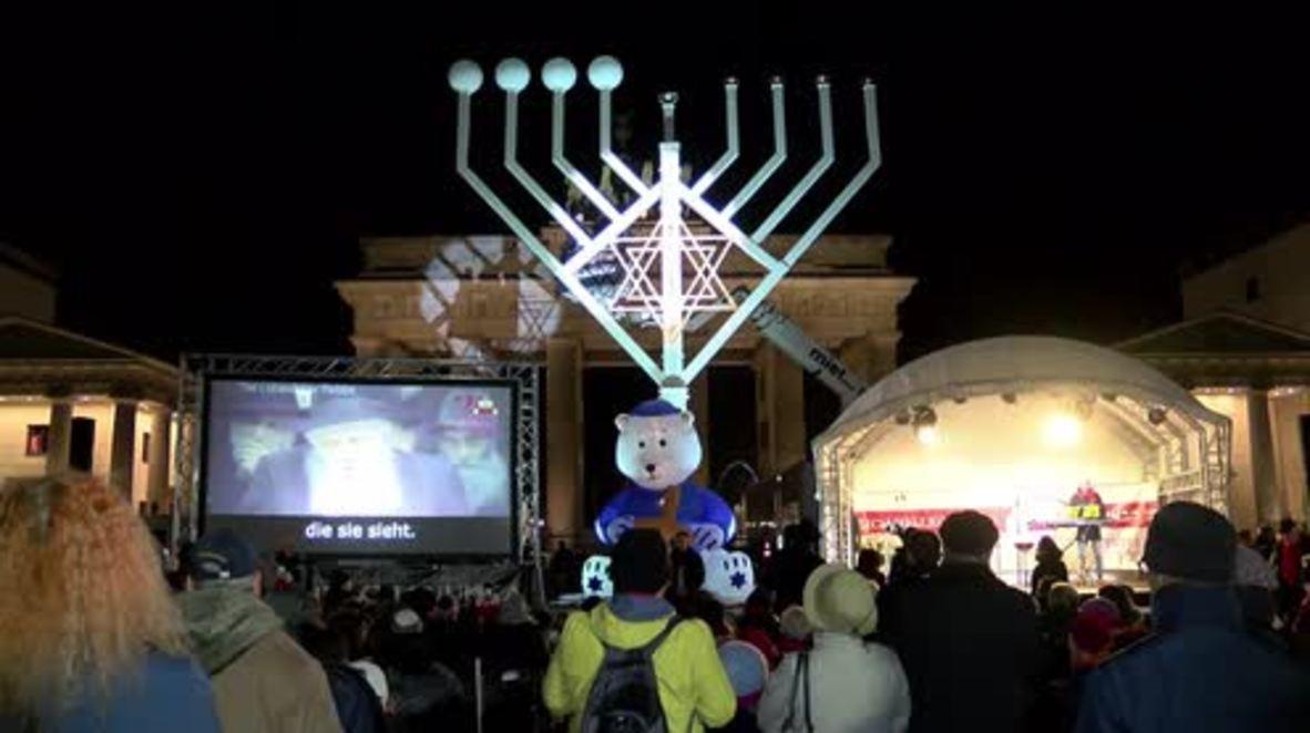 Germany: Europe's largest Hanukkah menorah lights up Berlin