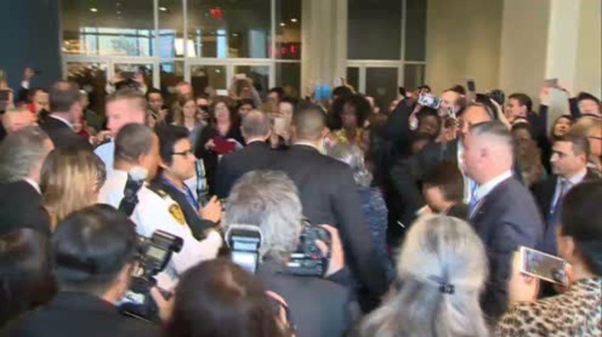 UN: Ban Ki-moon says final farewells at UNHQ as he steps down as UN chief