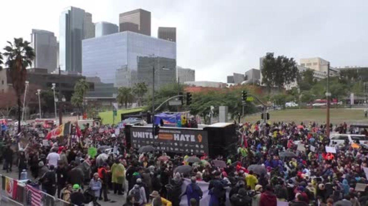USA: Anti-Trump protesters take LA by storm