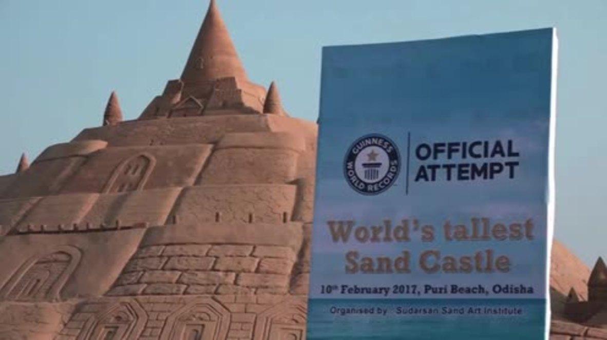India: Sandcastle breaks record for tallest in world