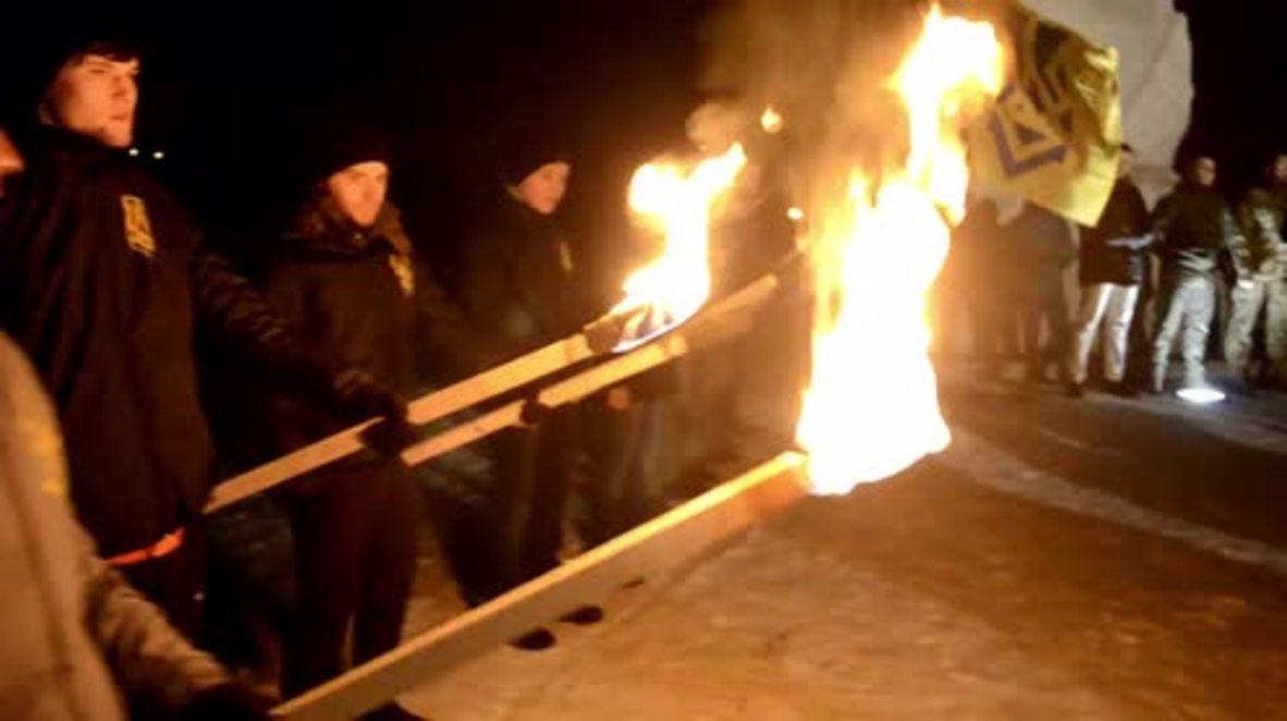 Ukraine: Azov battalion members commemorate the 'Shyrokyne Standoff' in Zaporozhye