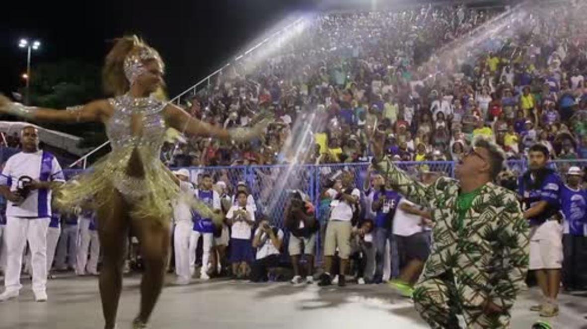 Brazil: Samba dancer practise steps before 2017 Rio Carnival
