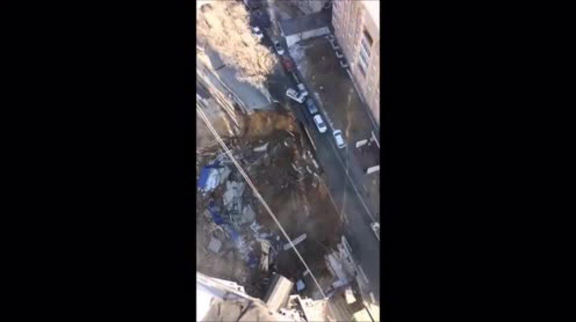 Russia: Vast sinkhole causes major bridge collapse in Vladivostok
