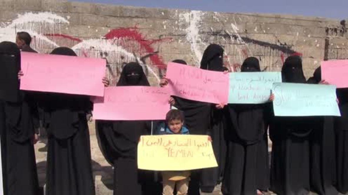 Yemen: Women demand an end to the war outside UN HQ on Women's Day