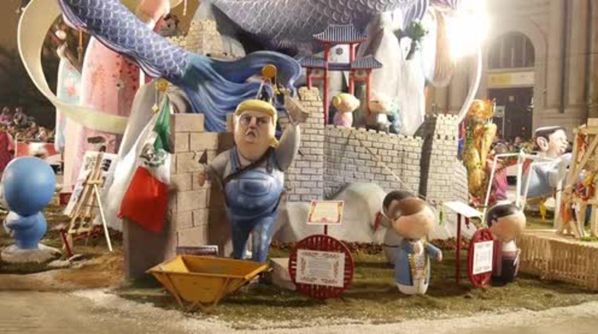 Spain: Wall-building Trump effigy set ablaze at 'Las Fallas' fire festival in Valencia
