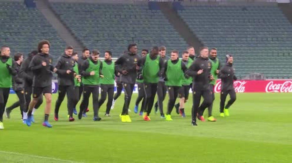 Russia: Belgian football team trains in Sochi ahead of Russia match