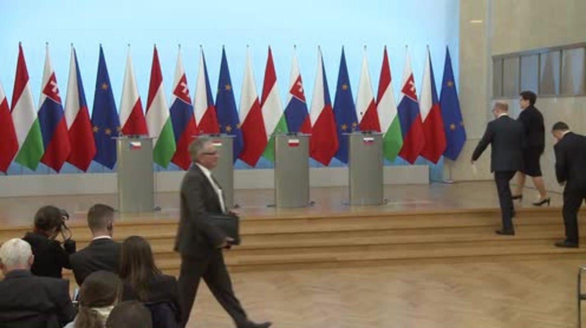 Poland: V4 leaders slam EU refugee relocation plan; Orban defends detention law