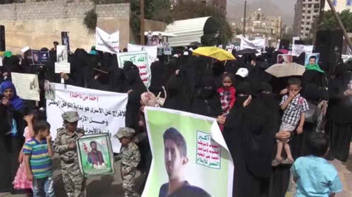 Yemen: Women rally outside UN's Sanaa offices calling for prisoners' release