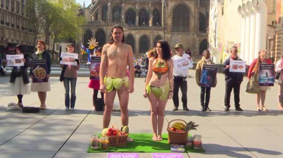 France: Activists promote vegan diet in Paris on World Health Day