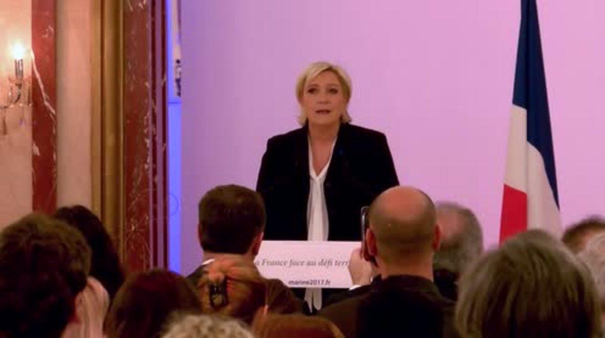France: Le Pen vows stringent measures against 'terrorists' as election looms