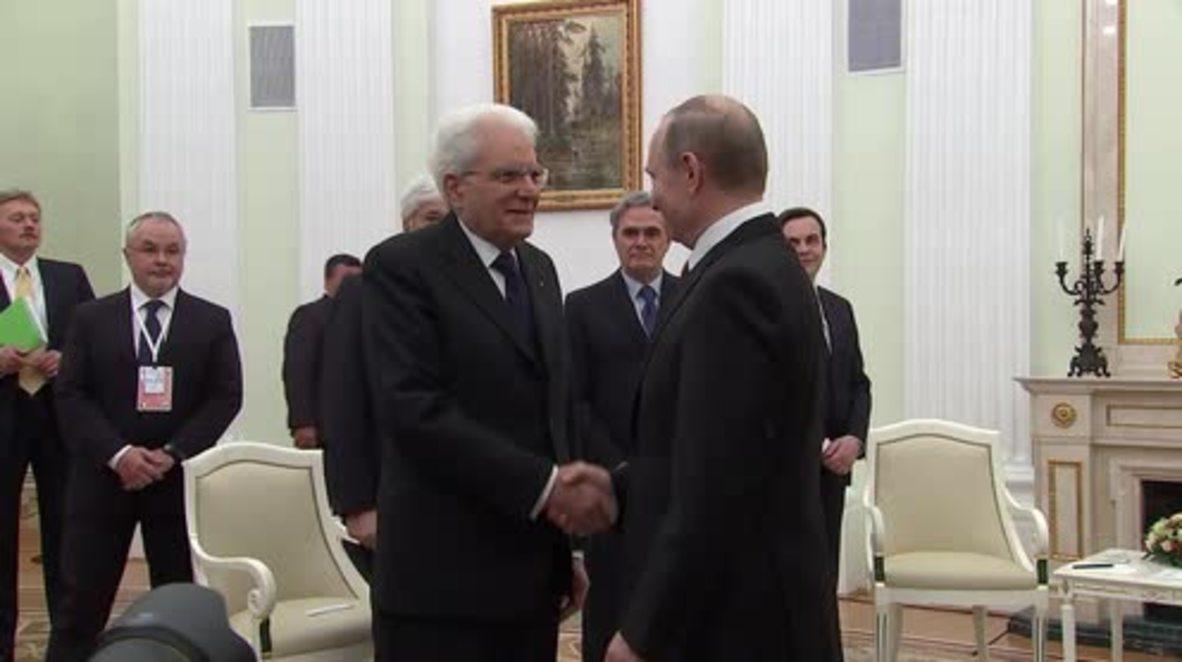 Russia: Putin meets with Italian President Mattarella in Moscow