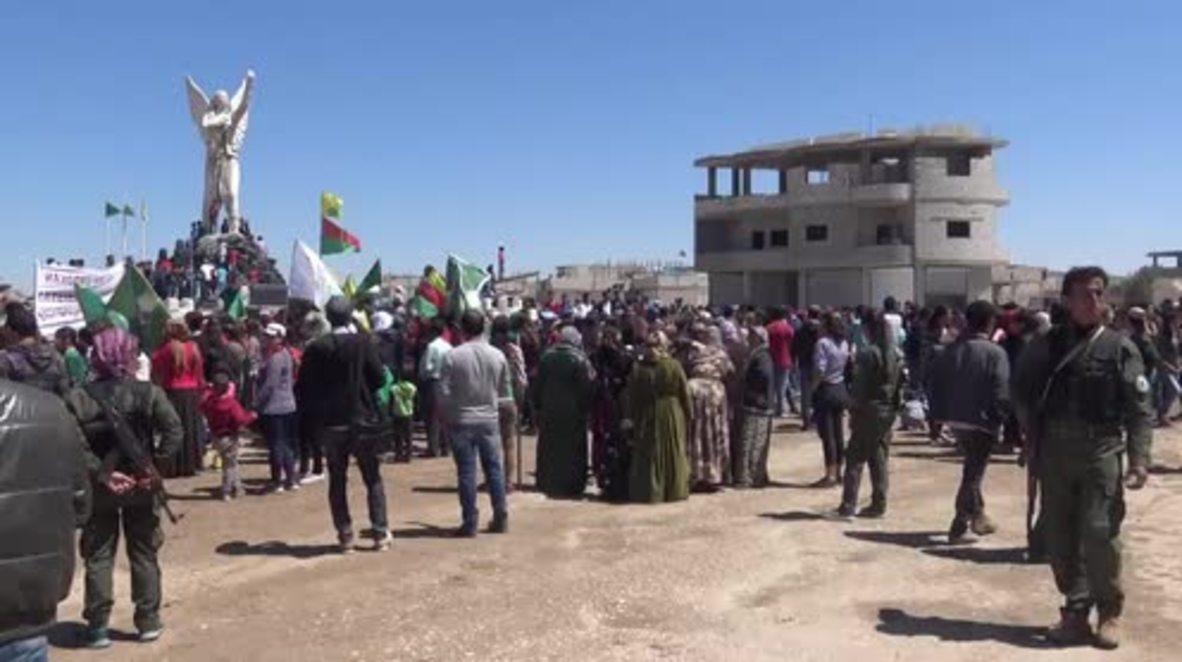 Syria: Kurds rally in Kobane against 'criminal' Turkish airstrikes