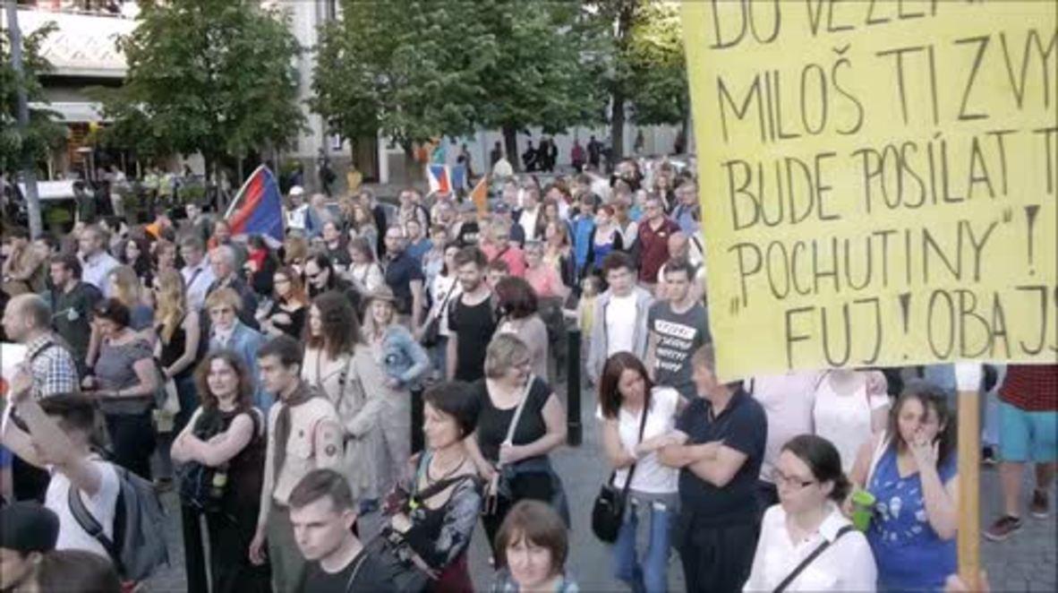 Czech Republic: Thousands march against President Zeman and FinMin Babis in Prague
