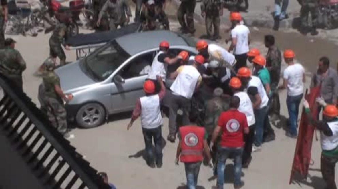 Syria: Victims of IS' Aqareb massacre taken to Salamieh hospital