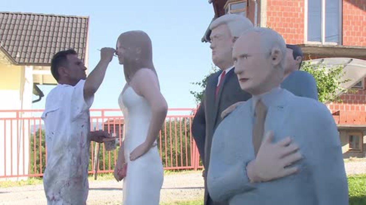 Bosnia and Herzegovina: Life-size statue of Melania erected next to Trump and Putin