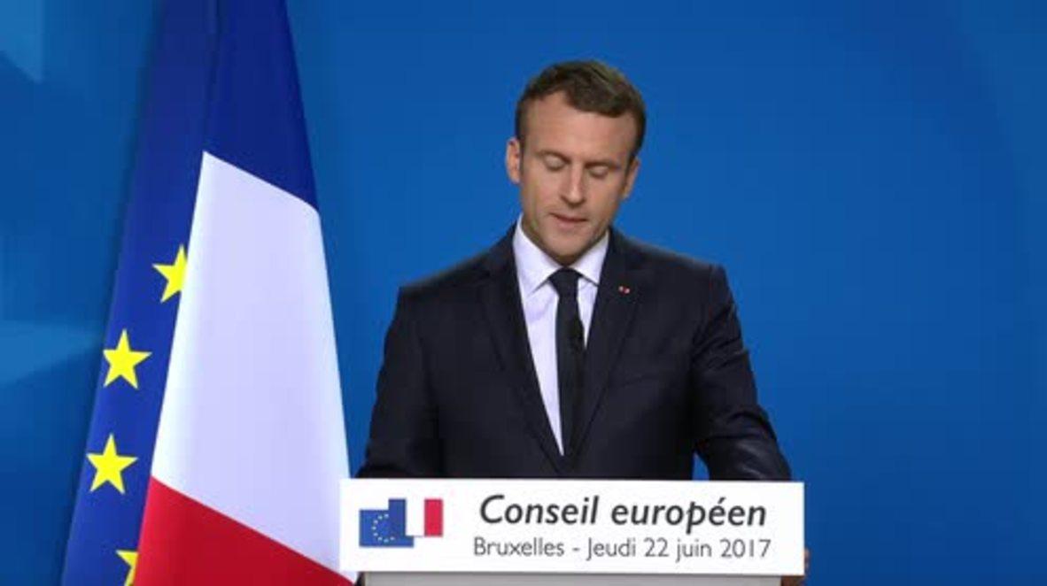 Belgium: Macron lauds creation of European defence fund