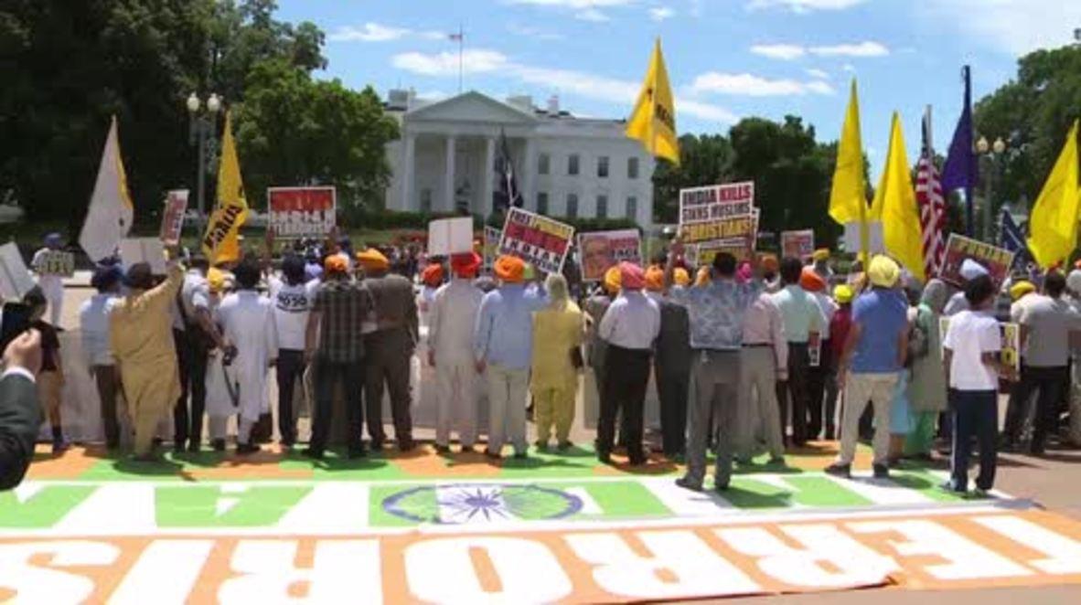 USA: Sikhs picket White House as Trump meets Modi