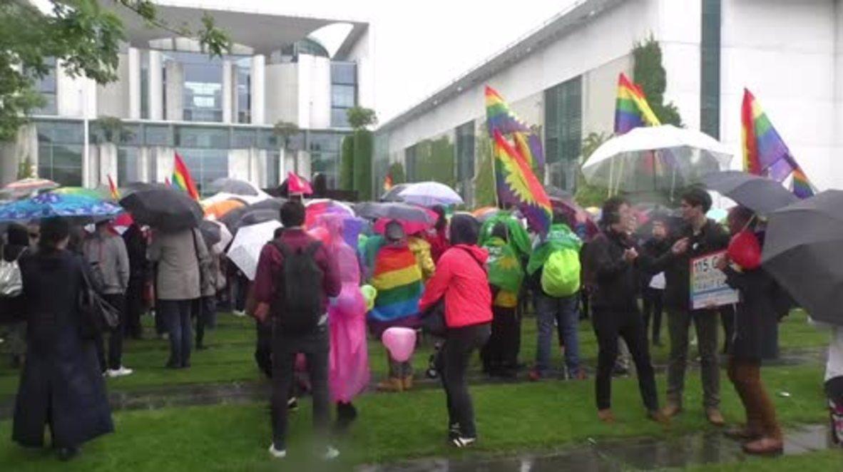 Germany: LGBT community celebrates gay marriage bill in front of Merkel's office