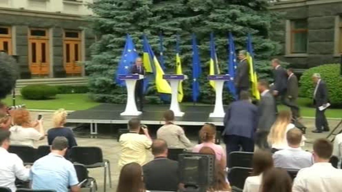 Ukraine: Poroshenko kicks off Ukraine-EU Summit alongside 'hungry' Juncker