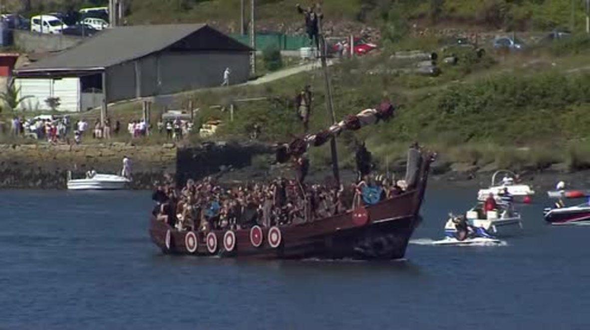 At-laga! Vikings descend on coastal Galician town in spectacular reenactment