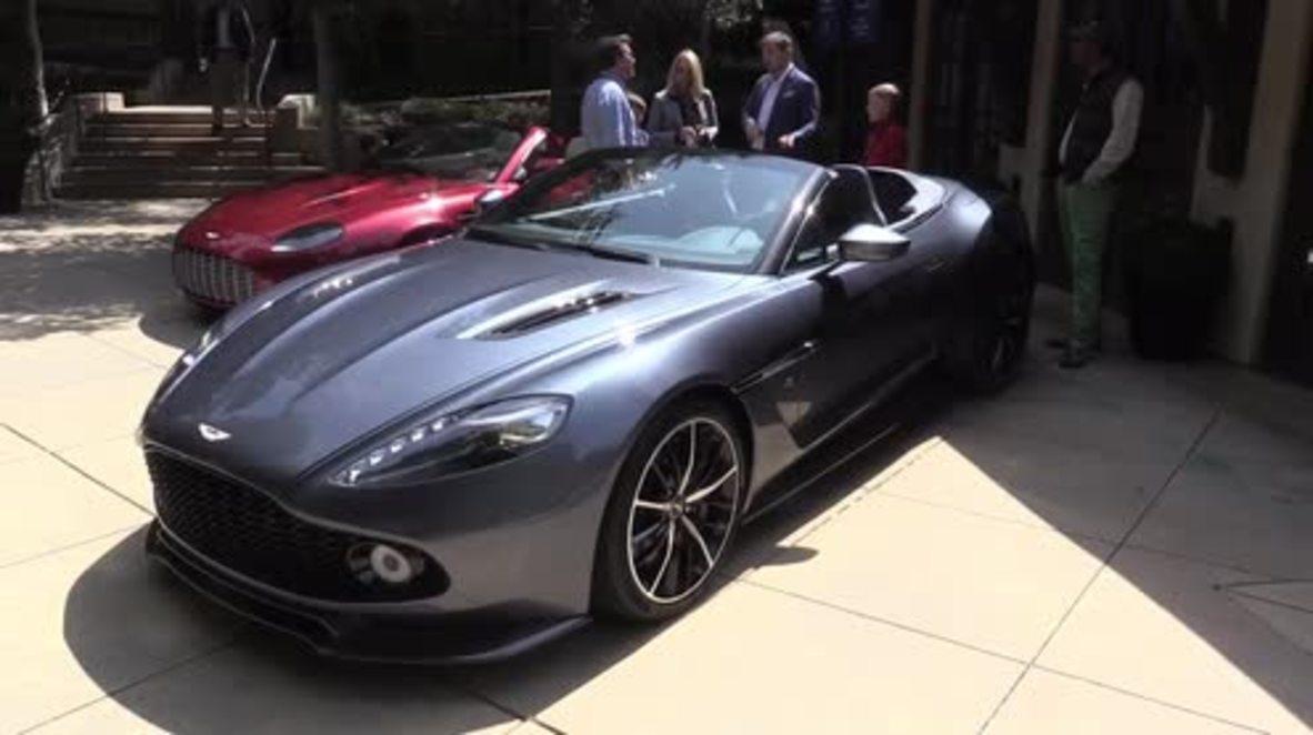 Usa Aston Martin Drops The New Vanquish Zagato At Cali Car Show Video Ruptly