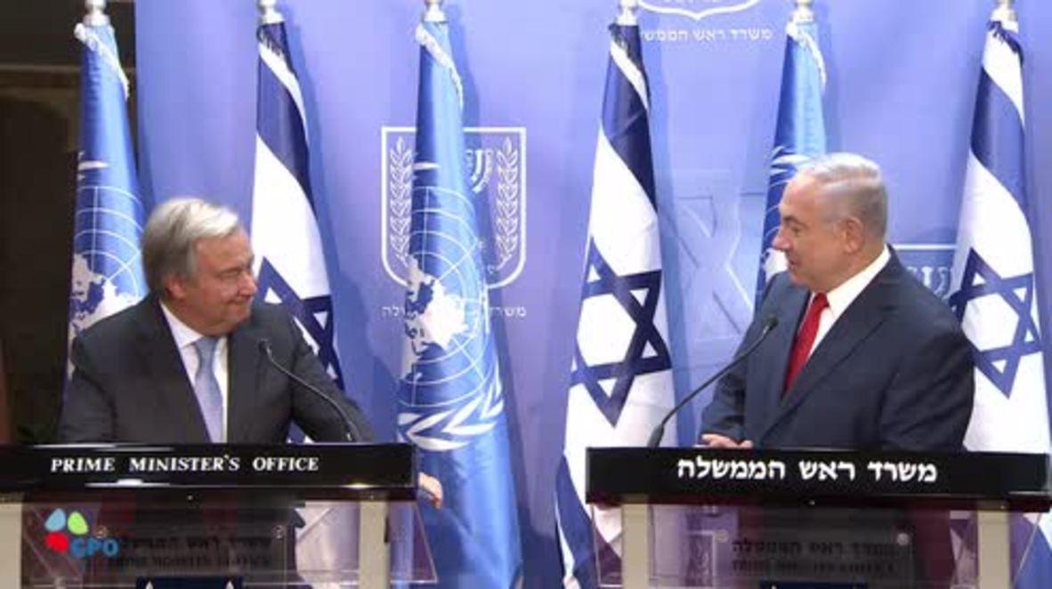 Israel: Calling to destroy Israel is 'modern anti-Semitism' - UN's Guterres alongside Netanyahu