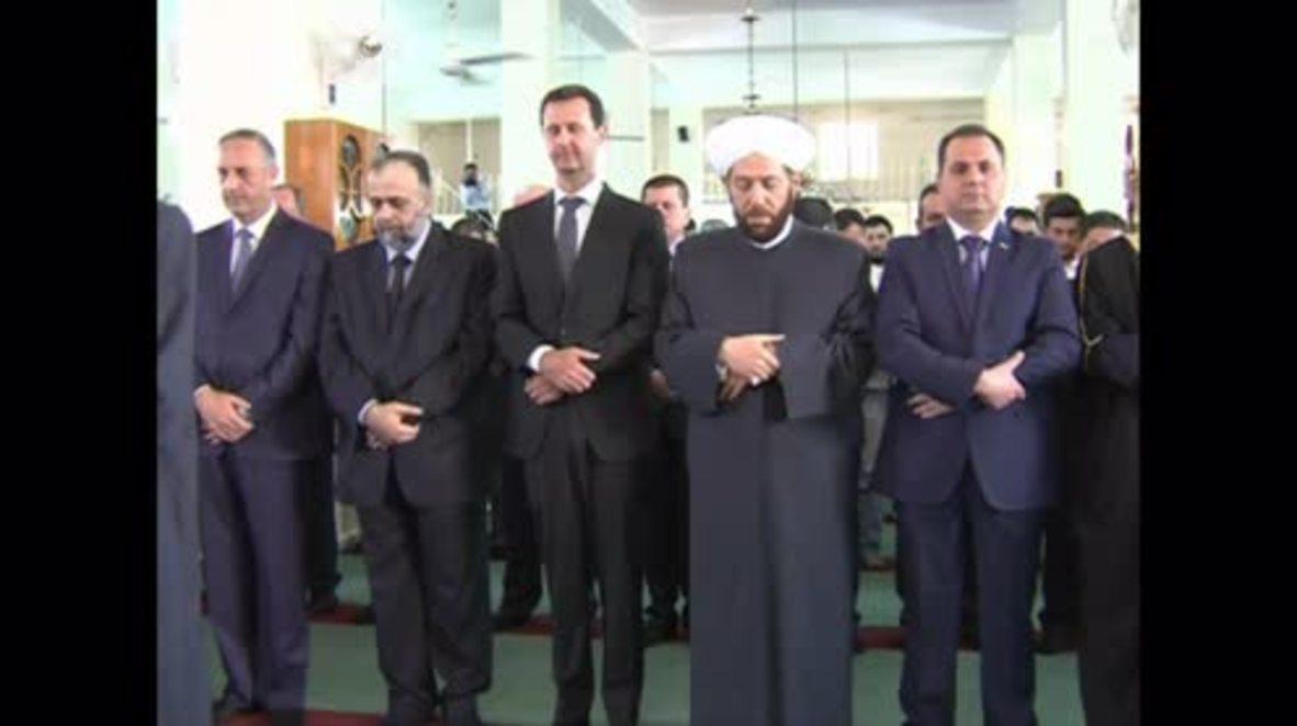 Syria:  Assad attends Eid al-Adha service in liberated Qara
