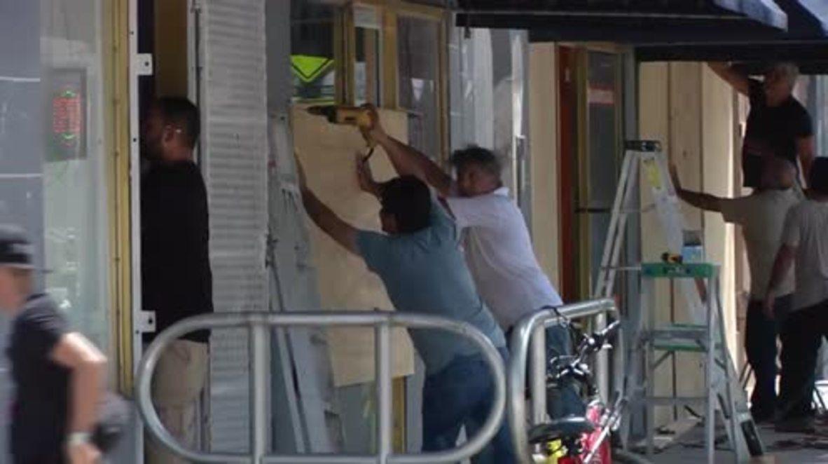USA: Miami residents board up windows ahead of Irma