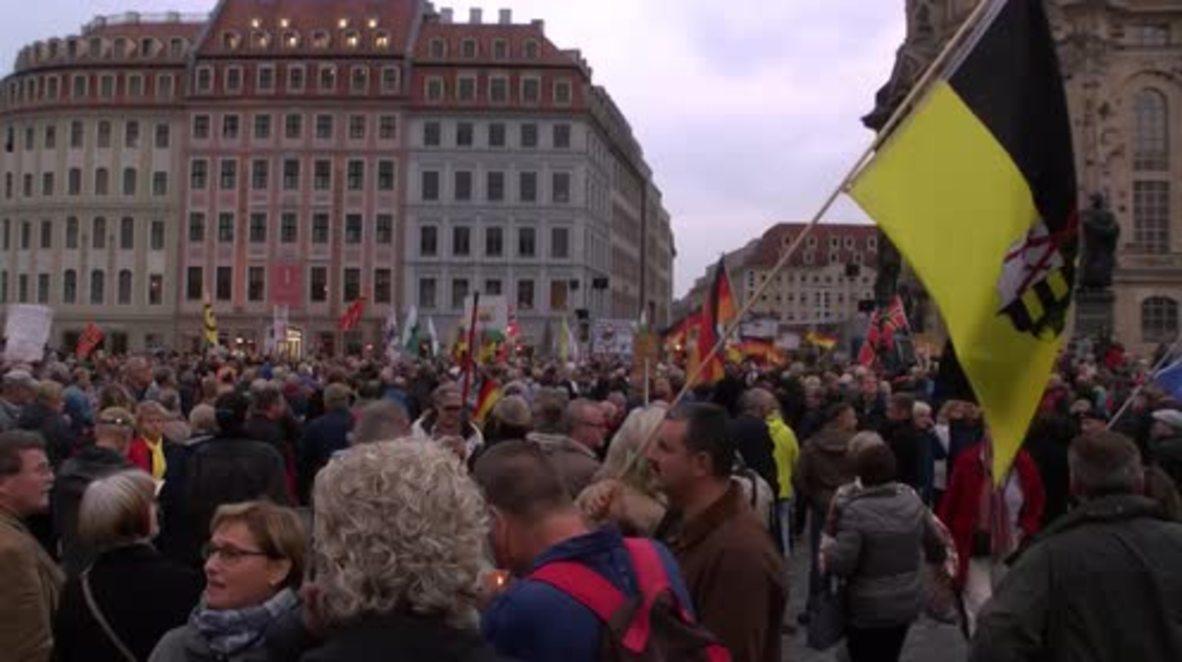 Germany: Hundreds of Pegida supporters celebrate AfD result on streets of Dresden