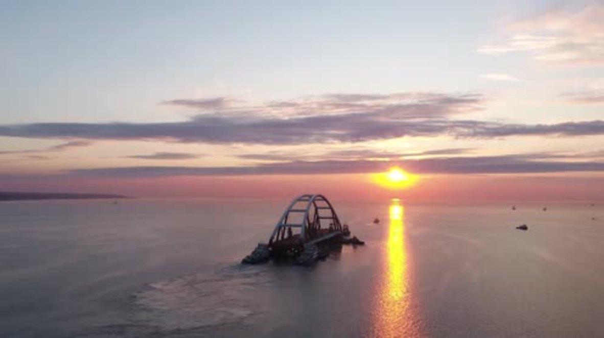 Russia: Drone captures magnificent new bridge at sunrise