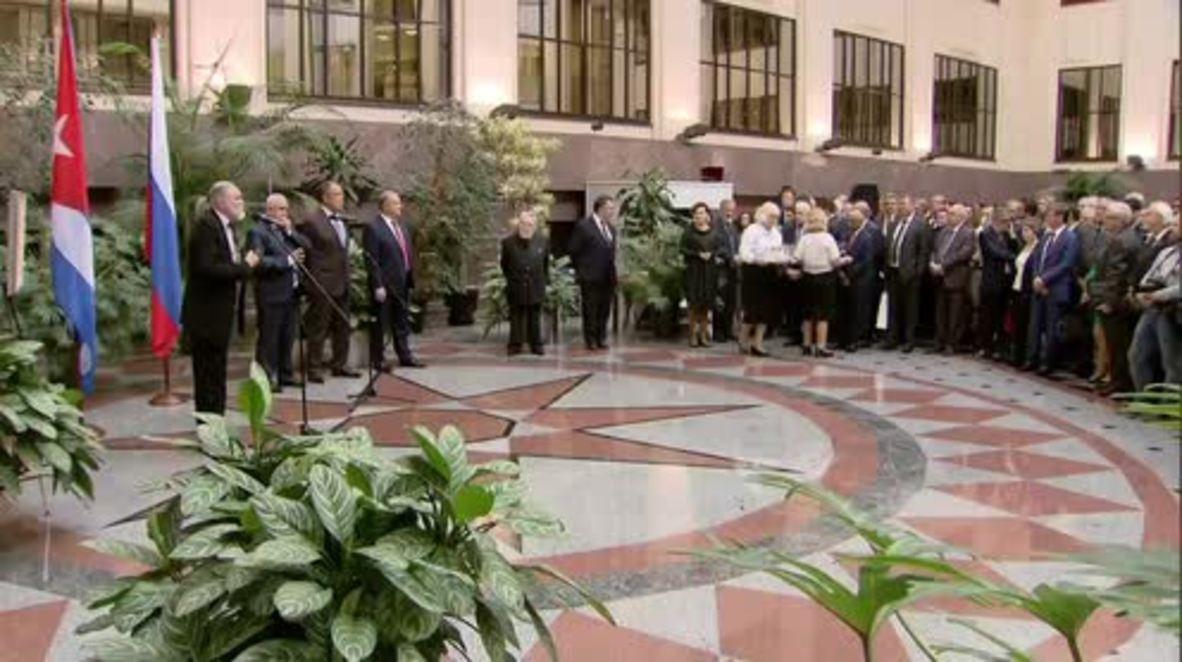 Rusia: Lavrov asiste a la ceremonia de presentación del álbum dedicado a Fidel Castro