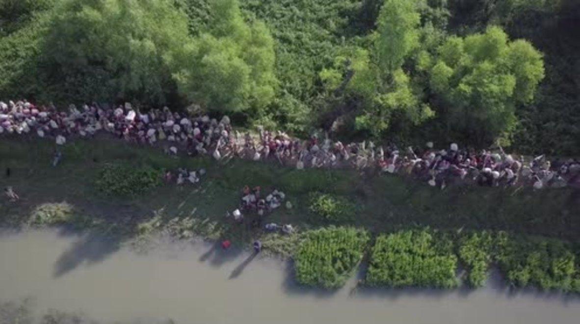 Bangladesh: Drone captures mass of new refugees fleeing Myanmar