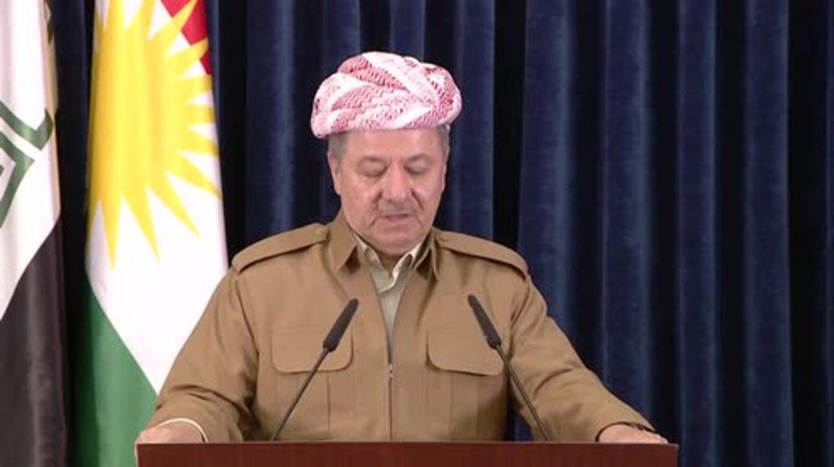 Iraq: Iraqi Kurdish leader Barzani announces resignation as KRG president