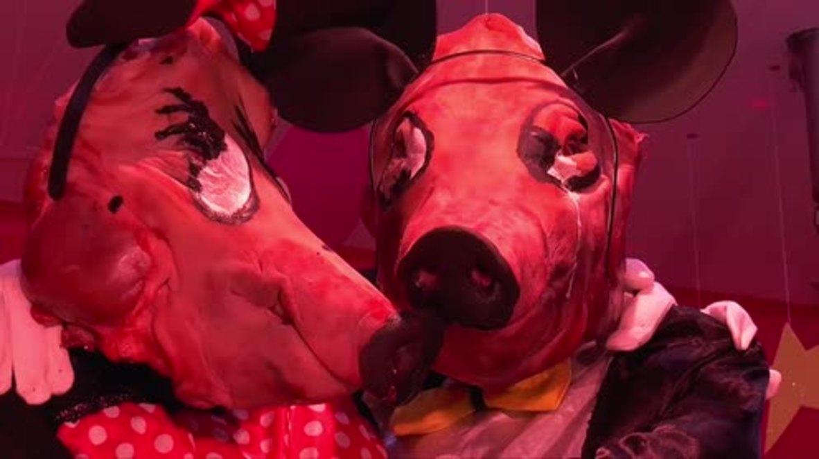 Flogging a dead horse! Animals dressed up in costumes for Cadiz's 'Tosantos' festival