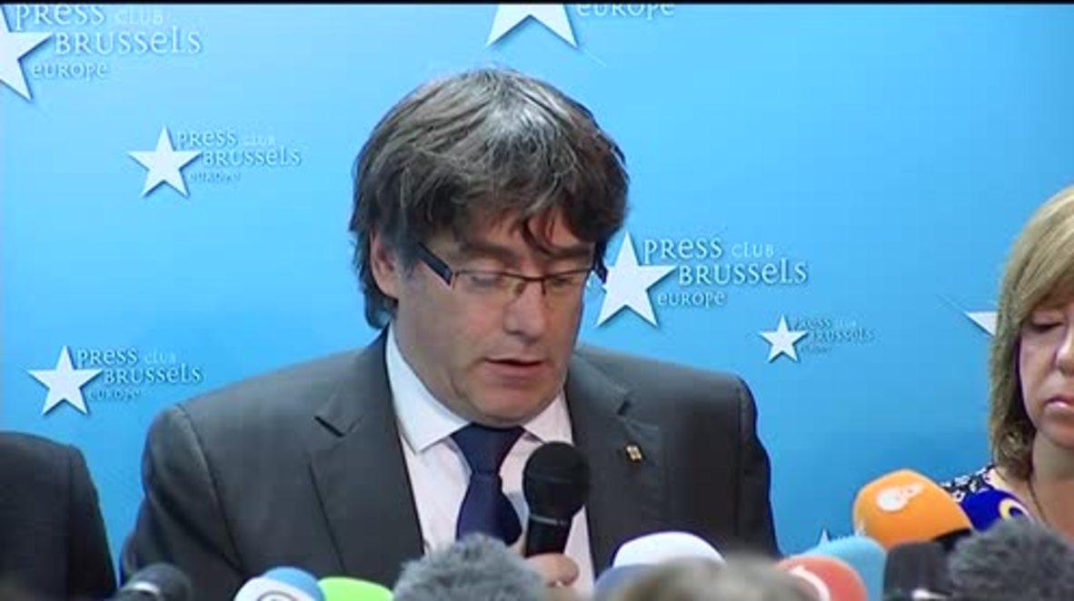 Belgium: Former Catalan President Puigdemont speaks in Brussels