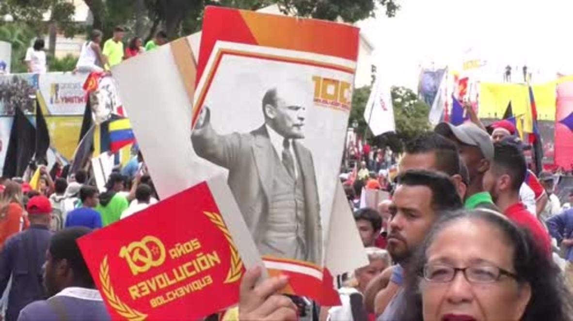 Venezuela: 'We will build 21st century socialism at all costs'- Maduro tells Russian Revolution march