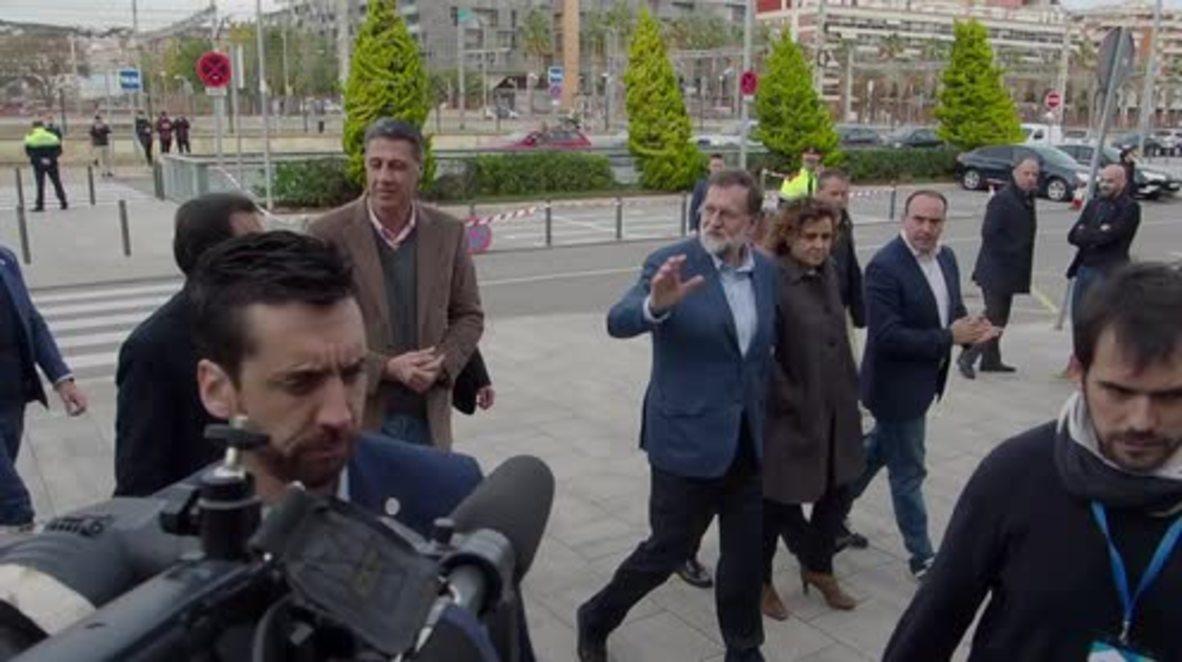 España: El presidente Mariano Rajoy visita Mataró entre tensión por la situación en Cataluña