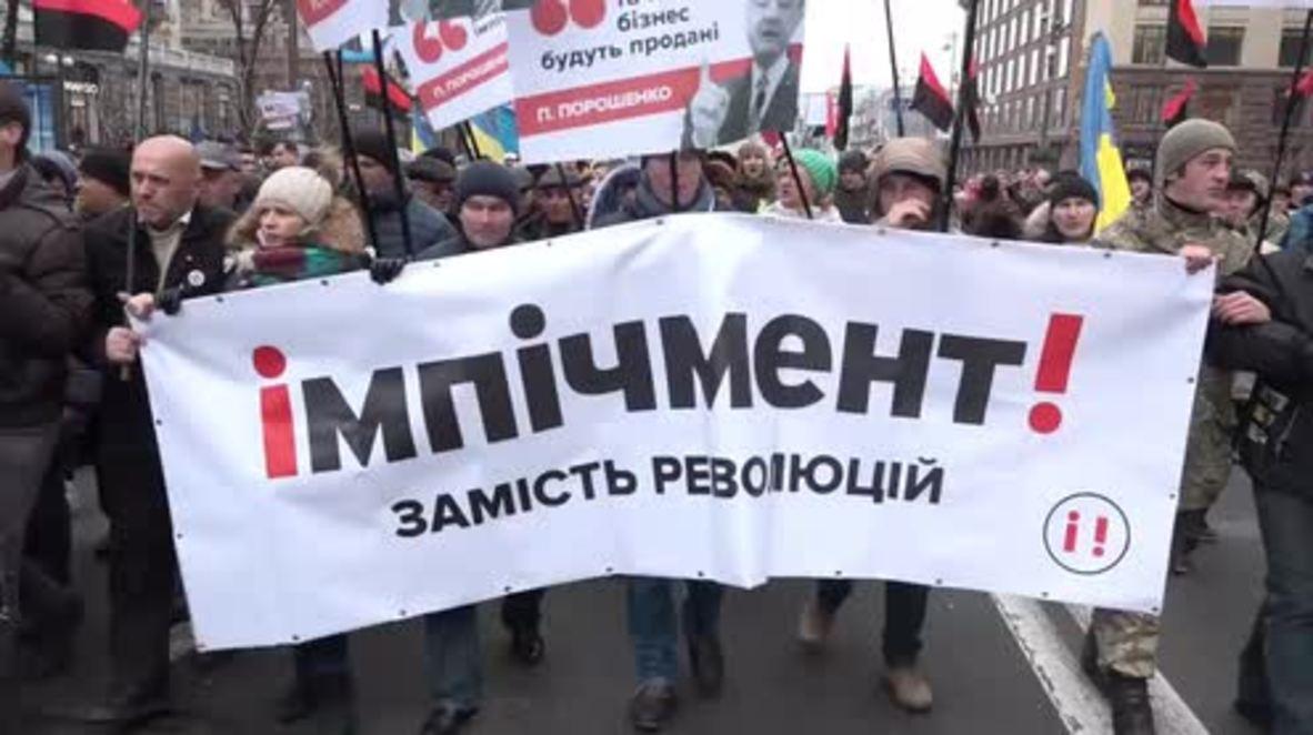 Ukraine: Saakashvili leads protest demanding Poroshenko's impeachment