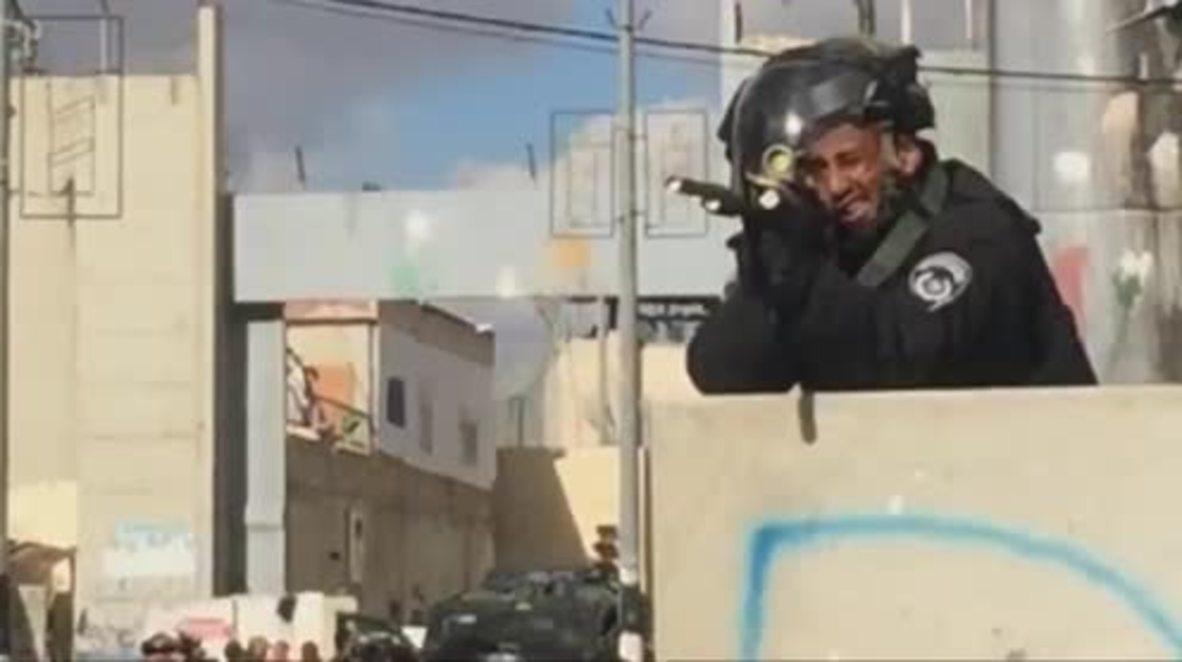 Palestina: Cañones de agua en Belén ante el aumento de tensión en Belen.