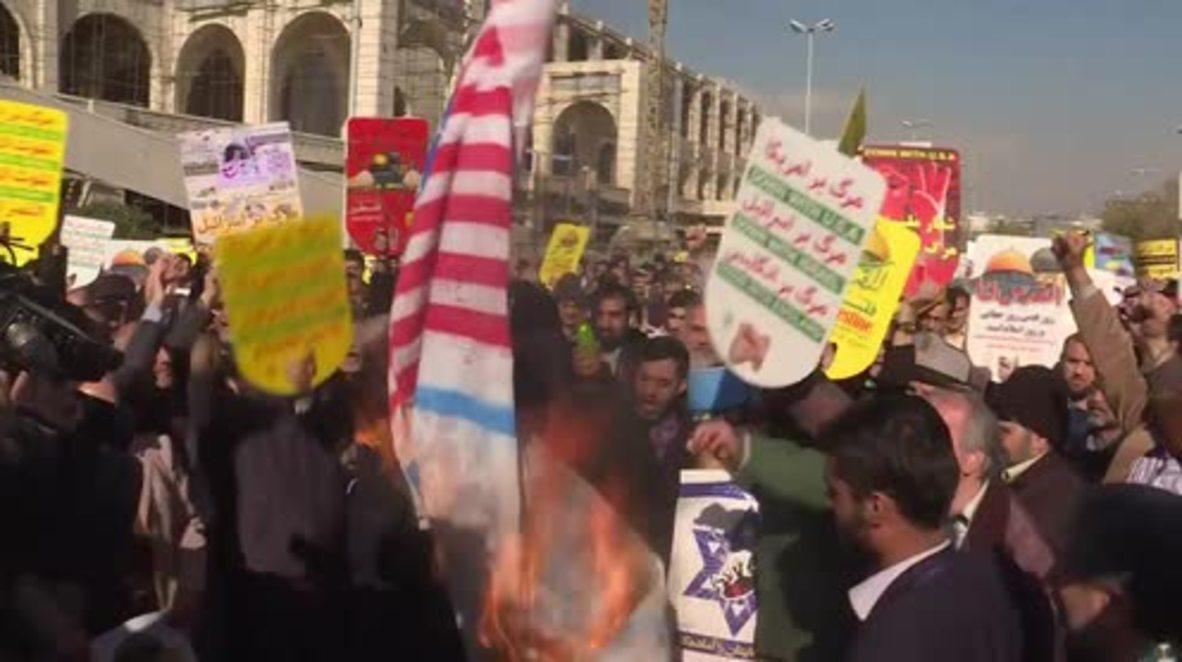 Irán: Manifestantes queman banderas estadounidenses e israelíes tras la decisión de Trump de Jerusalén