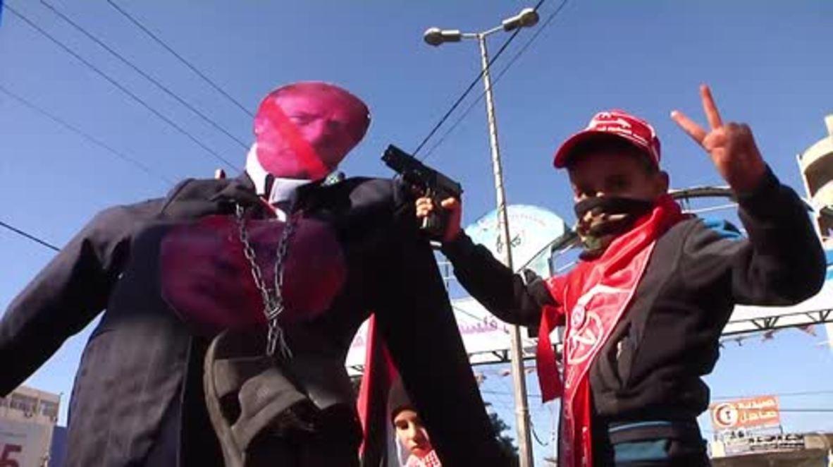 Palestina: Queman una efigie de Trump durante protesta en Gaza.