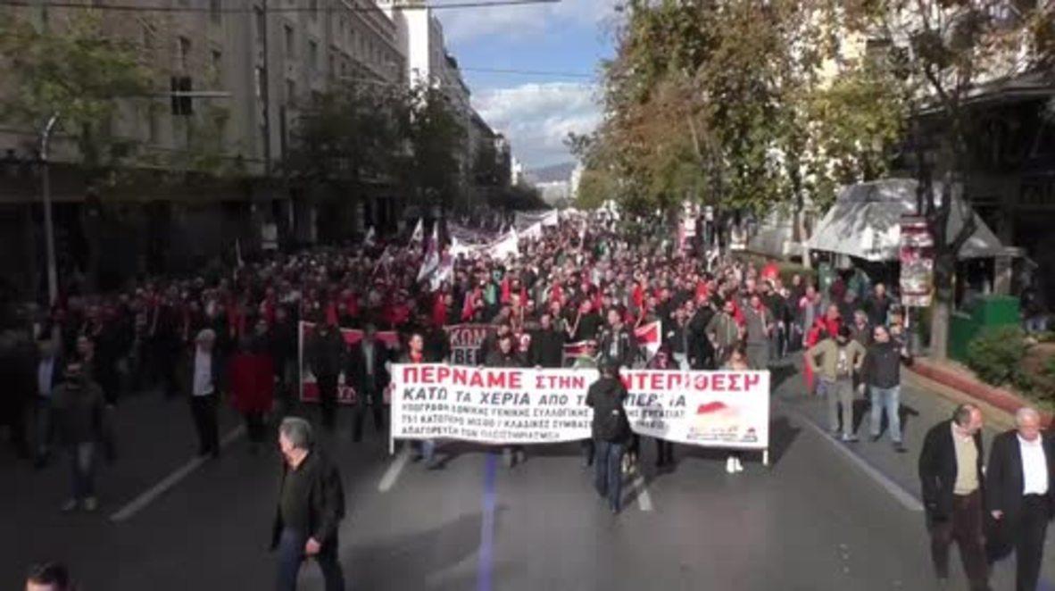 Greece: Thousands take to Athens' streets as 24hr strike kicks off