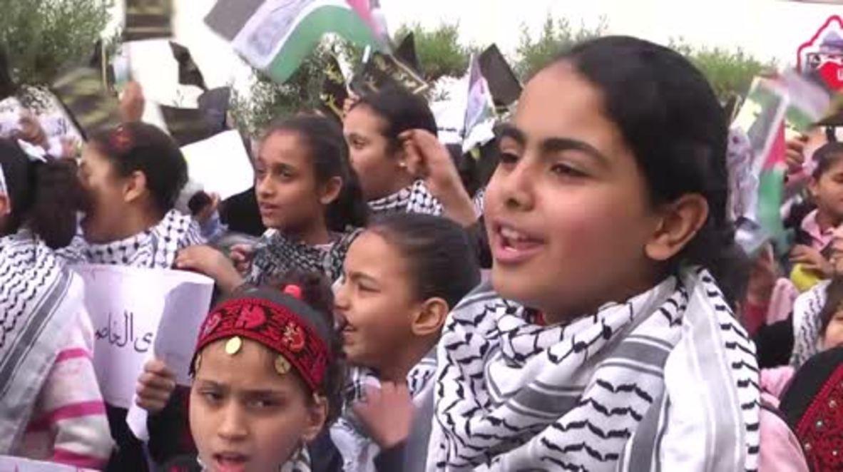 State of Palestine: Gaza children stage protest over Trump's Jerusalem decision