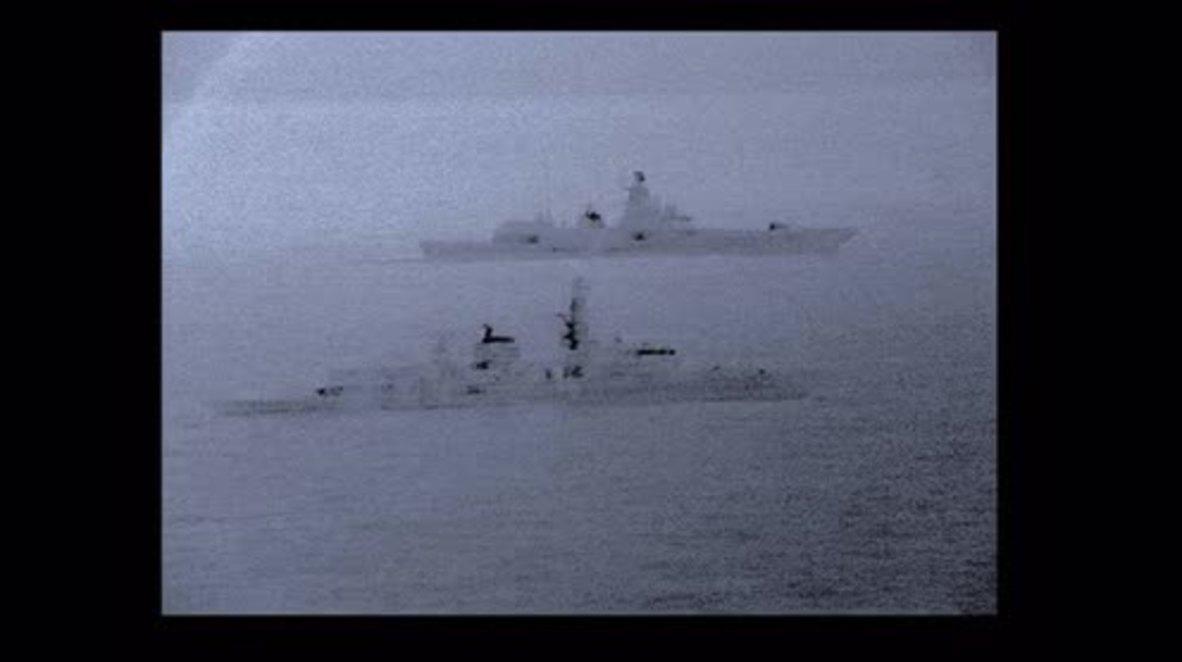 International Waters: British frigate escorts Russian warship in North Sea *STILLS*