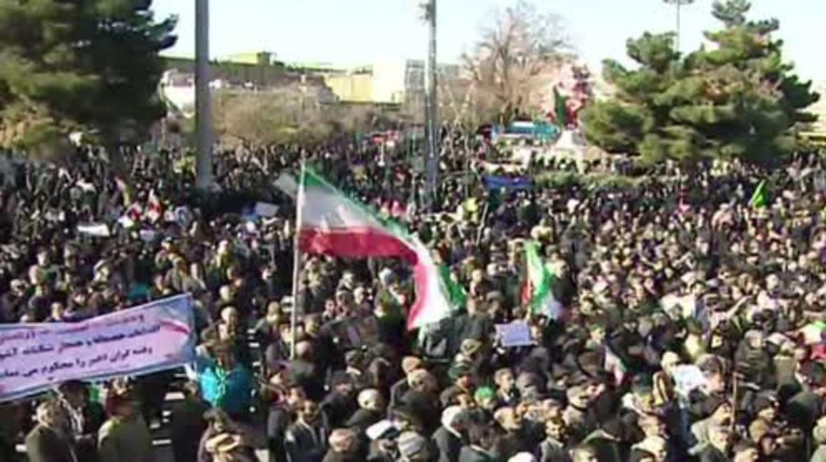 Irán: Marchas progubernamentales contra la violencia.